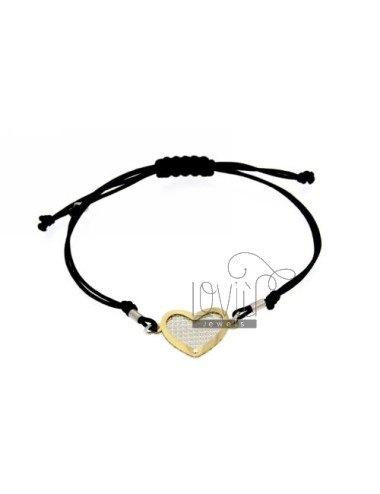 CORD NECKLACE AND BRACELET WITH HEART SHAPED GOLD PLATED SILVER DIAMOND AND INTERNAL 925