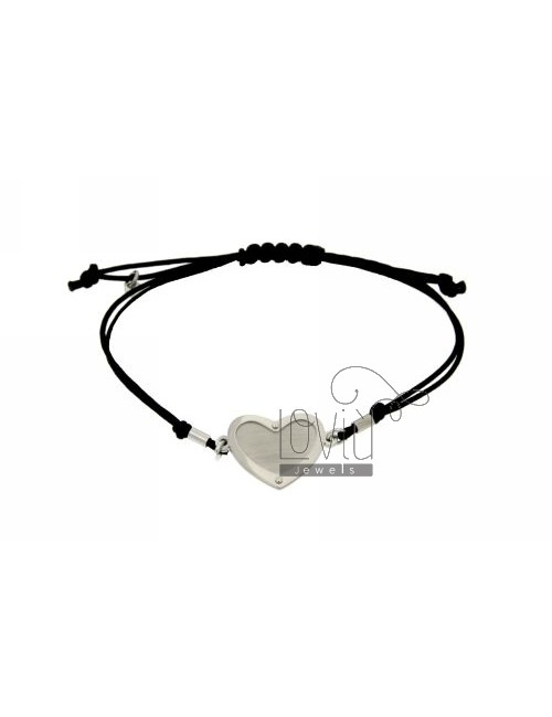 CORD NECKLACE AND BRACELET WITH HEART SHAPED SILVER RODIAO 925