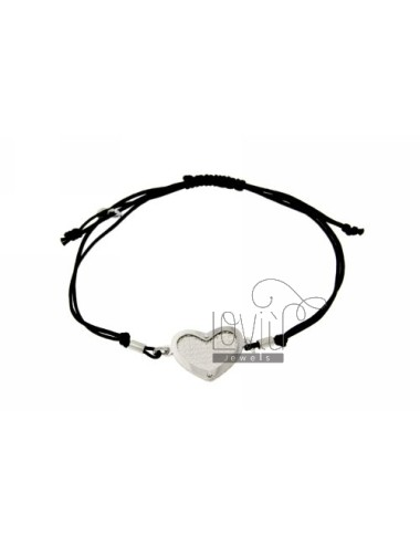 CORD NECKLACE AND BRACELET WITH HEART SHAPED INTERIOR WITH DIAMOND SILVER RHODIUM 925