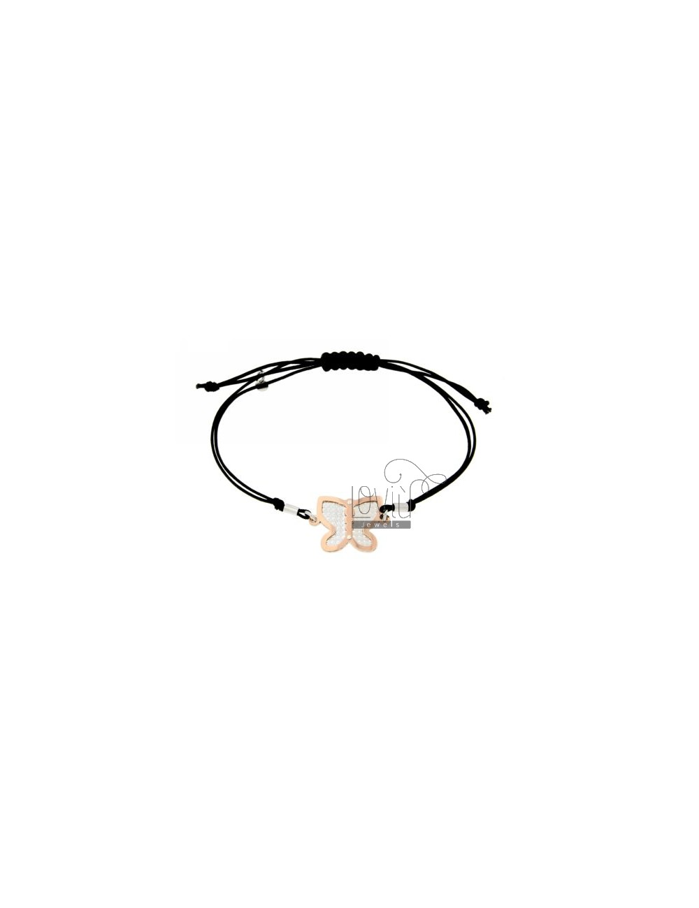 CORD NECKLACE AND BRACELET WITH BUTTERFLY SHAPED ROSE GOLD PLATED SILVER DIAMOND AND INTERNAL 925