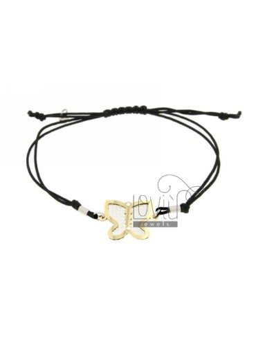 CORD NECKLACE AND BRACELET WITH BUTTERFLY SHAPED GOLD PLATED SILVER DIAMOND AND INTERNAL 925