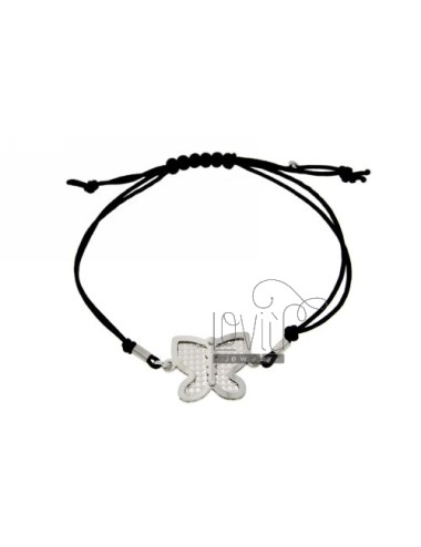 CORD NECKLACE AND BRACELET WITH BUTTERFLY SHAPED INTERIOR WITH DIAMOND SILVER RHODIUM 925