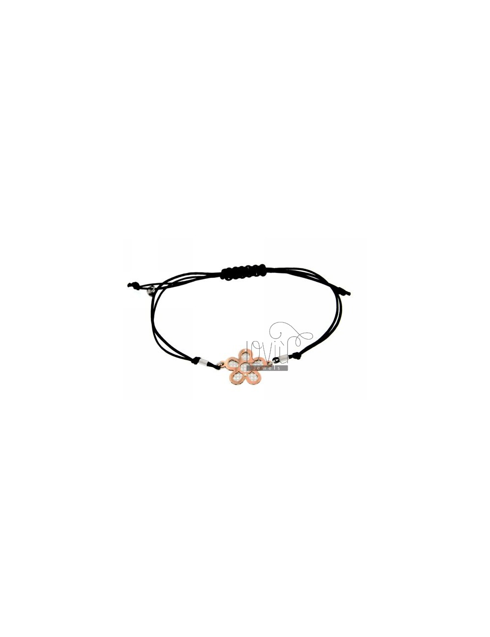 CORD NECKLACE AND BRACELET WITH FLOWER SHAPED INTERIOR WITH DIAMOND ROSE GOLD PLATED SILVER 925