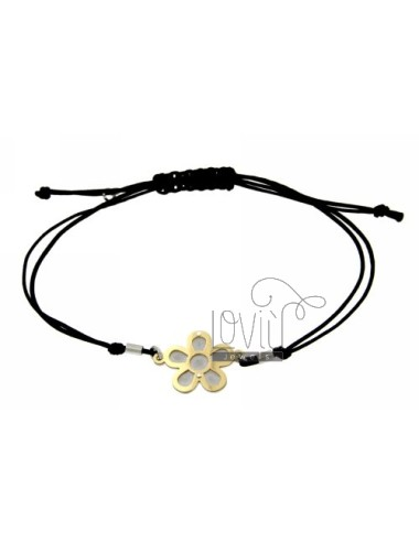 CORD NECKLACE AND BRACELET WITH FLOWER SHAPED GOLD PLATED SILVER 925 ‰