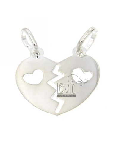PENDANT HEART DIVIDED HEART SILVER PERFORATED 925 ‰