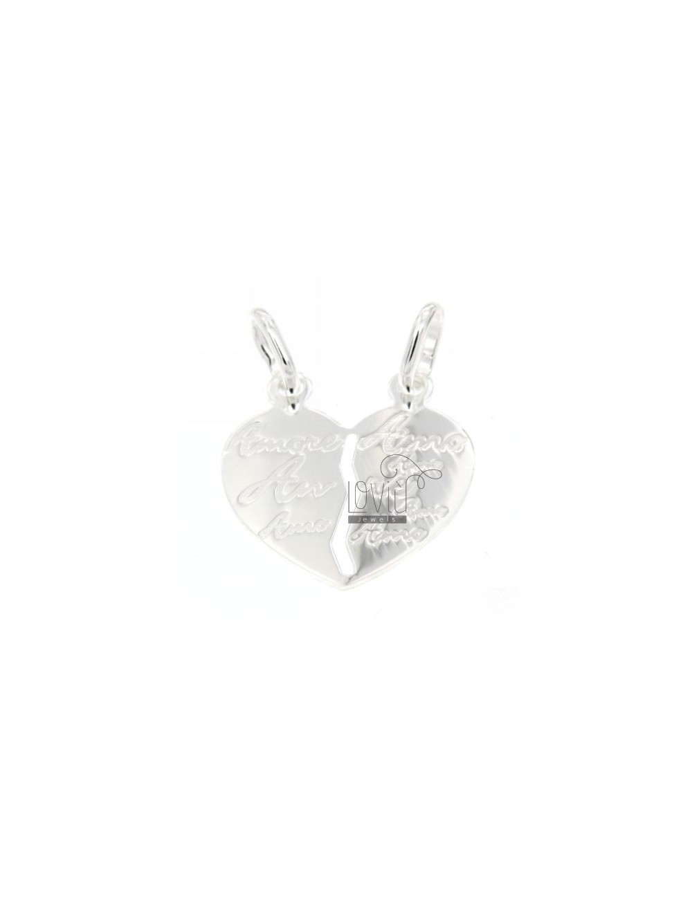 PENDANT HEART DIVIDED WITH LOVE WRITTEN ENGRAVED SILVER 925 ‰