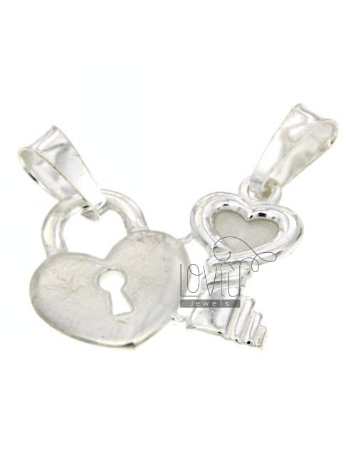 CHARM LOCK AND KEY TO HEART DIVIDED IN SILVER 925 ‰