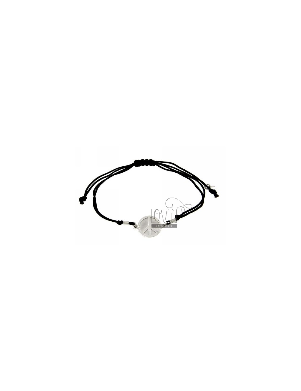 STRING BRACELET AND NECKLACE WITH ROUND SYMBOL OF PEACE SILVER RHODIUM 925