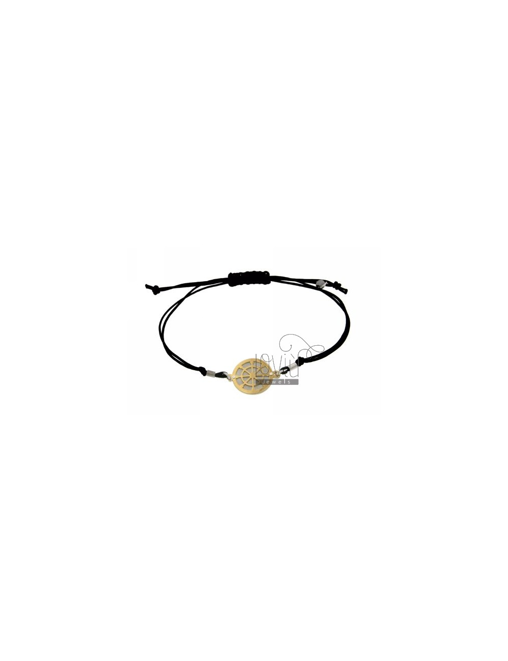 STRING BRACELET AND NECKLACE WITH ROUND GOLD PLATED SILVER 925 RUDDER
