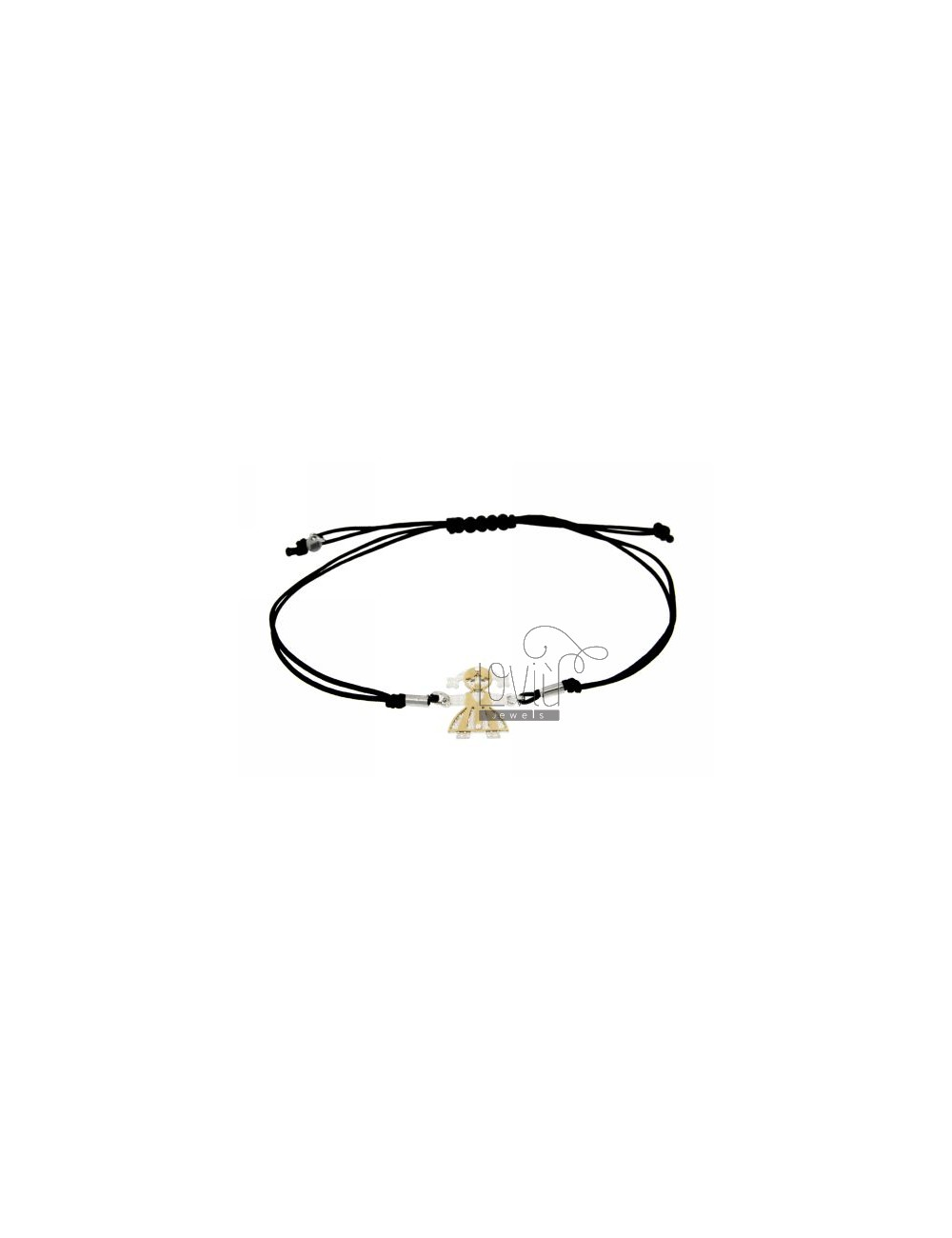 STRING BRACELET WITH CHARM AND A FORM OF GIRL WITH GOLD PLATED SILVER DIAMOND INTERIOR 925