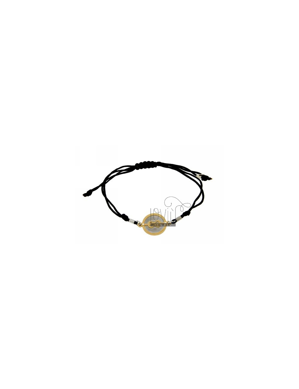 STRING BRACELET AND NECKLACE WITH ROUND SAILOR KNOT GOLD PLATED SILVER 925