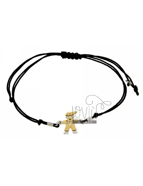 BRACELET WITH CHARM AND CORD SHAPED BABY GOLD PLATED SILVER 925 ‰