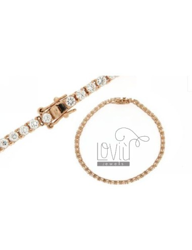 MM 3 TENNIS BRACELET IN SILVER ROSE GOLD PLATED 925 ‰ TIT AND ZIRCONIA WHITE