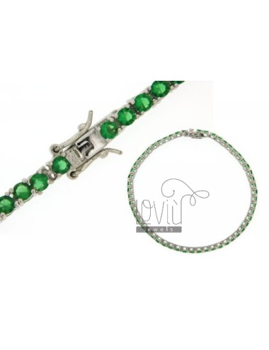 BRACCIALE TENNIS MM 3 IN ARG. PLACCATO RODIO TIT 925‰ E ZIRCONI VERDE