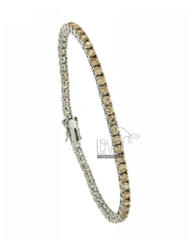 BRACCIALE TENNIS MM 3 IN ARG. RODIATO 925‰ E ZIRCONI CHAMPAGNE