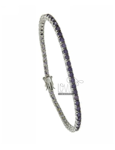 BRACCIALE TENNIS MM 3 IN ARG. PLACCATO RODIO TIT 925‰ E ZIRCONI VIOLA