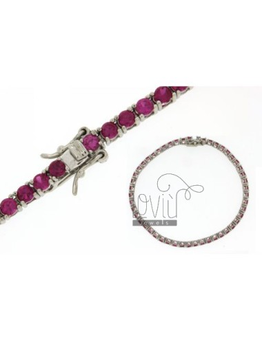 BRACCIALE TENNIS MM 3 IN ARG. RODIATO 925‰ E ZIRCONI ROSSI