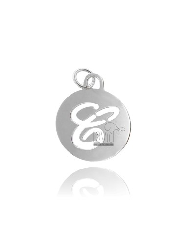 PENDANT ROUND 32 MM WITH LETTER C PERFORATED IN AG TIT 925 ‰ RHODIUM