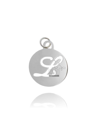 PENDANT ROUND 32 MM WITH LETTER L PERFORATED IN AG TIT 925 ‰ RHODIUM