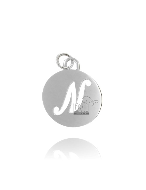 PENDANT ROUND 32 MM WITH LETTER N PERFORATED IN AG TIT 925 ‰ RHODIUM
