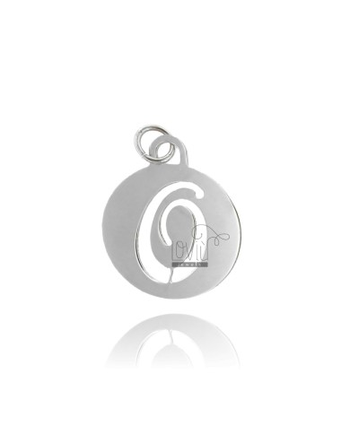 PENDANT ROUND 32 MM WITH LETTER OR PERFORATED IN AG TIT 925 ‰ RHODIUM