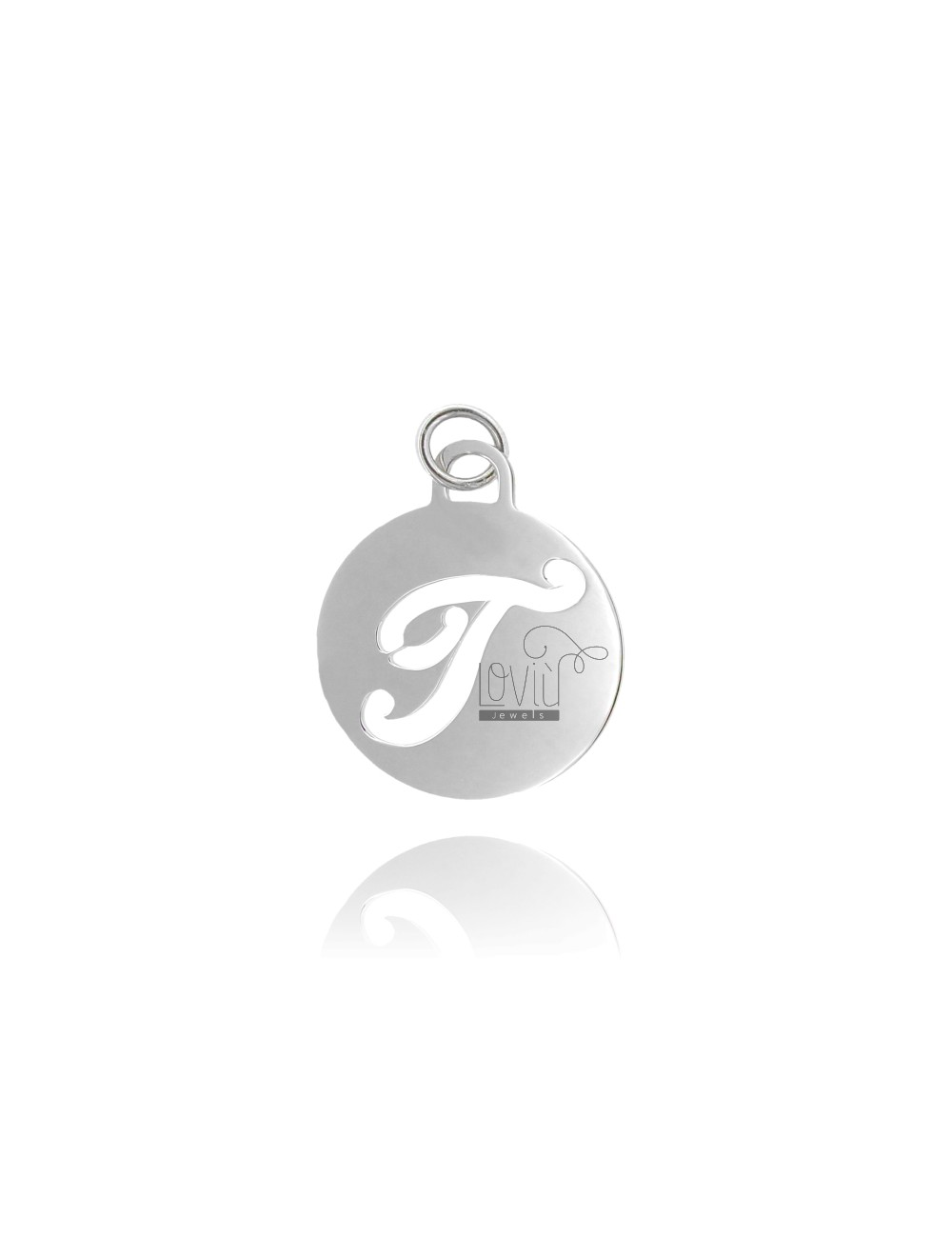 PENDANT ROUND 32 MM WITH LETTER T PERFORATED IN AG TIT 925 ‰ RHODIUM