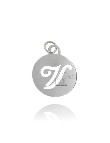 PENDANT ROUND 32 MM WITH LETTER V PERFORATED IN AG TIT 925 ‰ RHODIUM