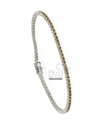 TENNIS BRACELET RHODIUM PLATED 2 MM IN TIT AG.925 CHAMPAGNE AND ZIRCONIA