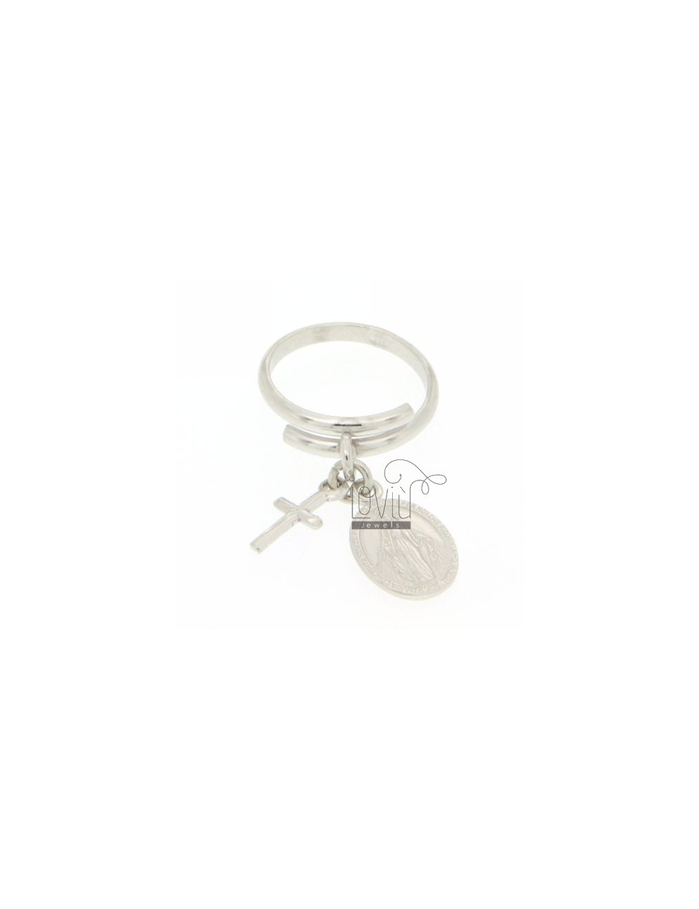 RING ADJUSTABLE NECKLACE WITH CROSS AND MIRACULOUS LADY IN SILVER RHODIUM 925