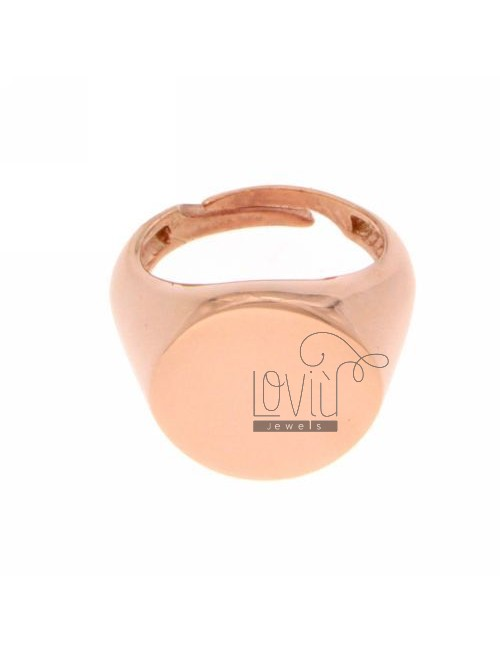 PINKY RING ROUND ROSE GOLD PLATED 925
