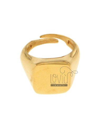 PINKY RING SQUARE GOLD PLATED SILVER 925 ‰
