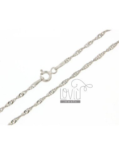 SINGAPORE CHAIN &8203&820340 CM SILVER RHODIUM 925