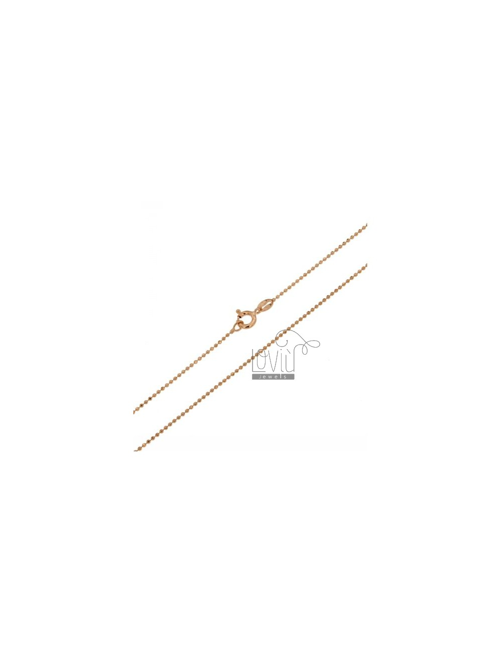 ROSE GOLD PLATED BALL CHAIN &8203&8203faceted 1.2 MM 60 CM IN TIT AG 925
