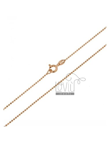 ROSE GOLD PLATED BALL CHAIN &8203&8203faceted 1.2 MM 70 CM IN TIT AG 925