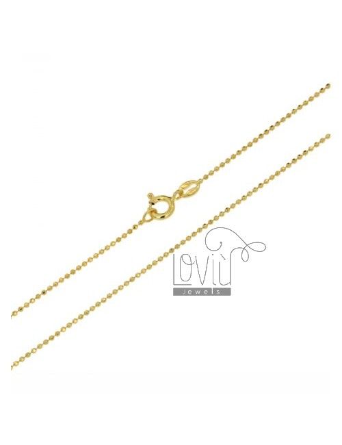 BALL CHAIN &8203&82031.2 MM YELLOW GOLD PLATED faceted CM 40 IN TIT AG 925