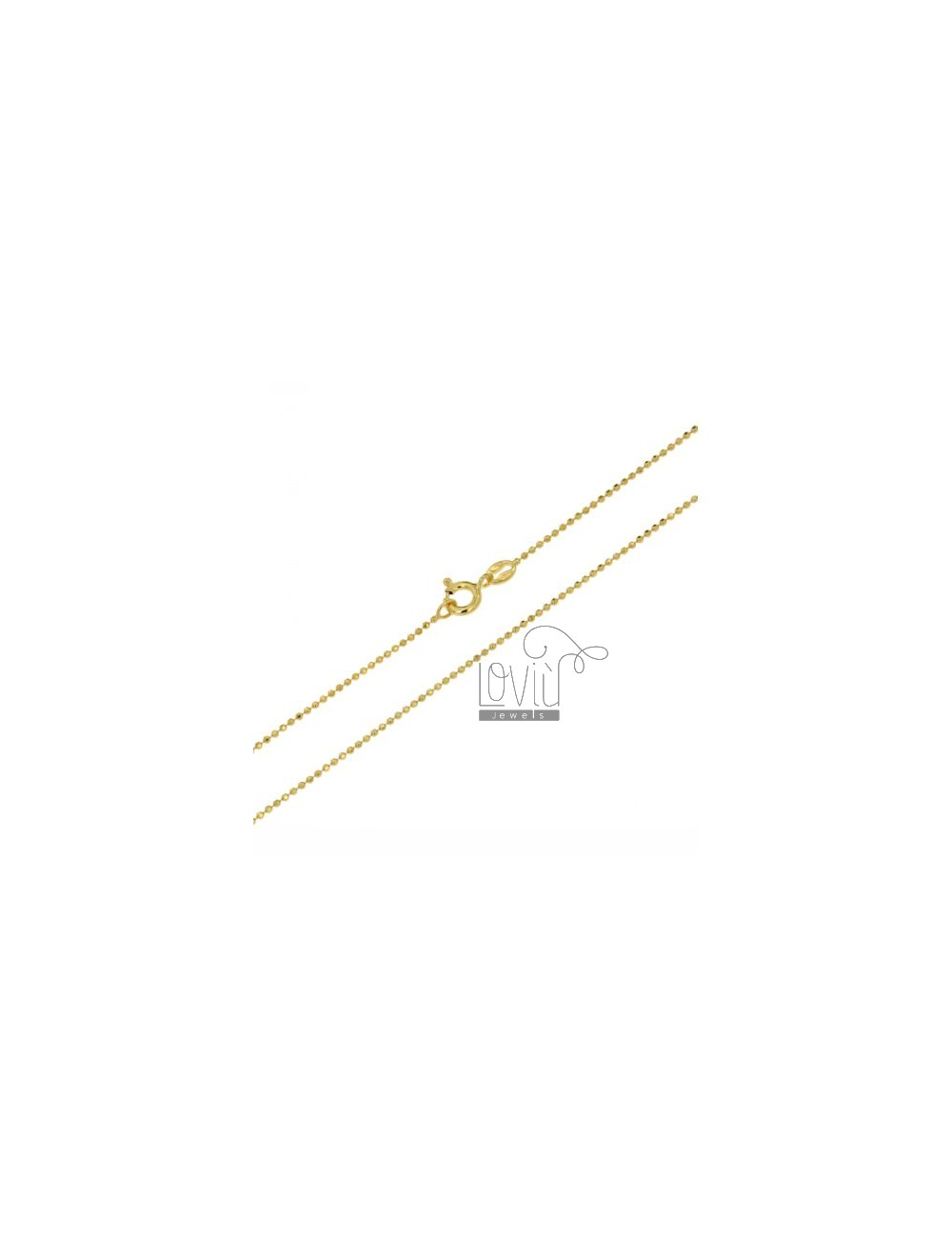 BALL CHAIN &8203&82031.2 MM YELLOW GOLD PLATED faceted CM 60 IN TIT AG 925