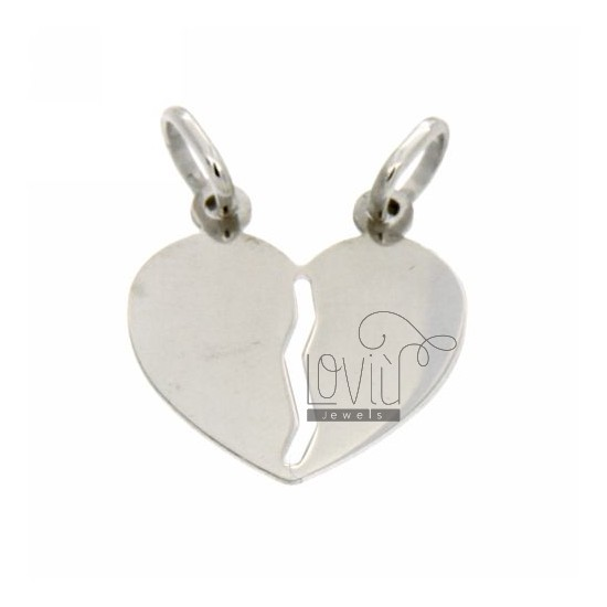 PENDANT HEART DIVIDED SMOOTH RHODIUM SILVER 925 ‰