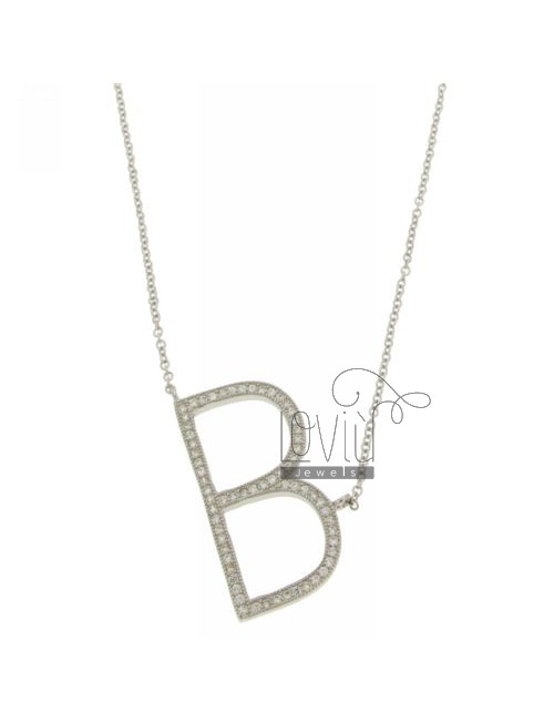 COLLIER WITH LETTER B MM 29X16 SILVER TITLE AND ZIRCONIA CM 925 ‰ 45