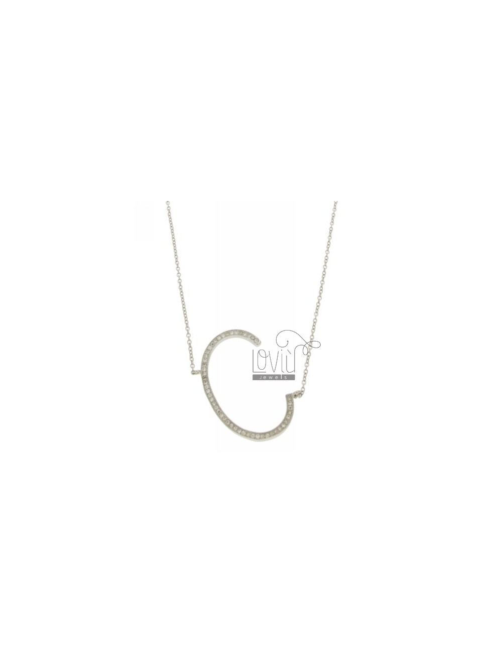 COLLIER BY LETTER C MM 32X21 SILVER TITLE AND ZIRCONIA CM 925 ‰ 45