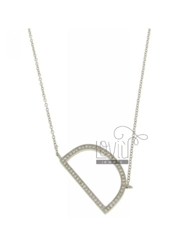 COLLIER CON LETTERA D MM 27X16 IN ARG. TIT 925‰ E ZIRCONI CM 45