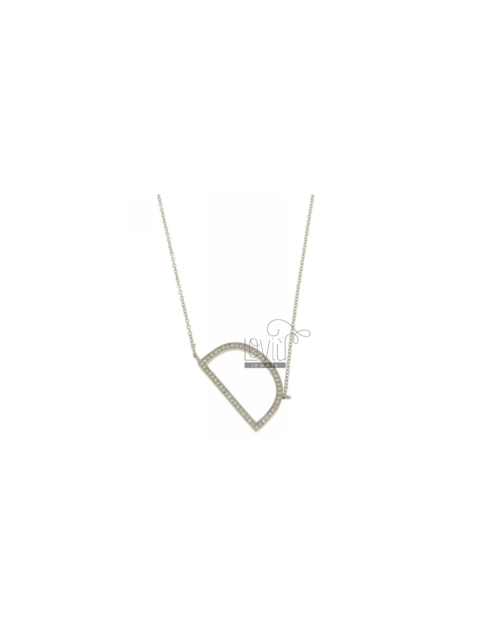 COLLIER BY LETTER D MM 27X16 SILVER TITLE AND ZIRCONIA CM 925 ‰ 45