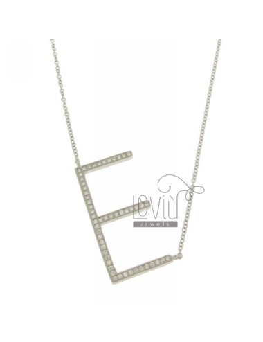COLLIER CON LETTERA E MM 32X16 IN ARG. TIT 925‰ E ZIRCONI CM 45