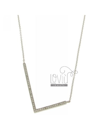 COLLIER LETTER L WITH SILVER 39x23 MM 925 ‰ TIT AND ZIRCONIA CM 45