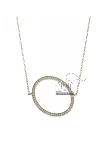 COLLIER BY LETTER O 28x23 MM SILVER TITLE AND ZIRCONIA CM 925 ‰ 45