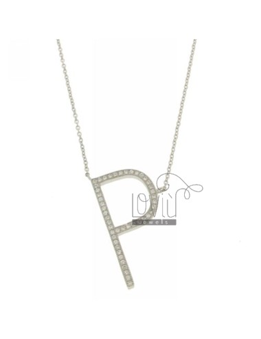 COLLIER BY LETTER P MM 30X15 SILVER TITLE AND ZIRCONIA CM 925 ‰ 45