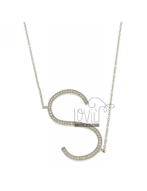 COLLIER BY LETTER S 35x20 MM SILVER TITLE AND ZIRCONIA CM 925 ‰ 45