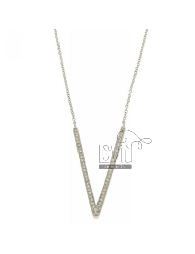 COLLIER BY LETTER V 33x20 MM SILVER TITLE AND ZIRCONIA CM 925 ‰ 45