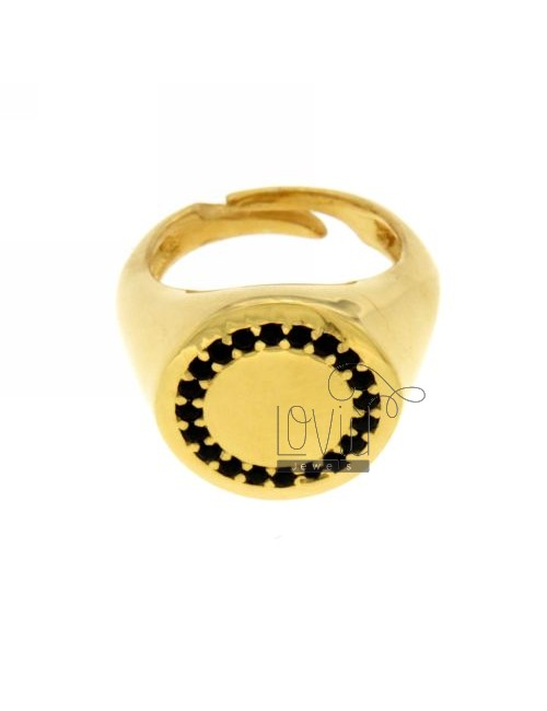PINKY RING ROUND GOLD PLATED 925 ‰ BLACKS AND ZIRCONIA