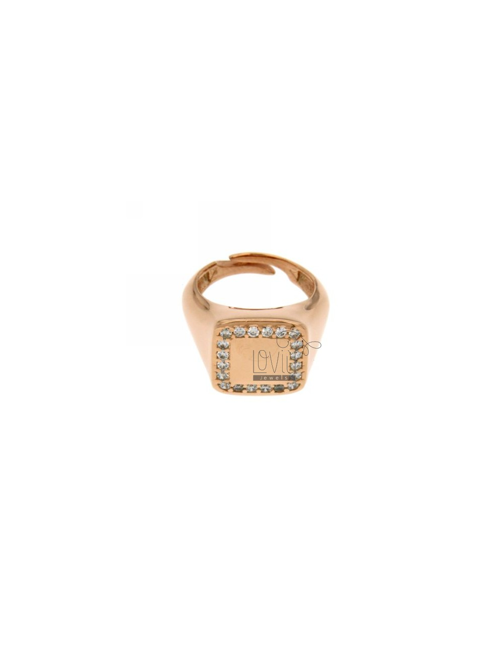 PINKY RING IN SILVER PLATED SQUARE ROSE GOLD 925 ‰ AND ZIRCONIA WHITE