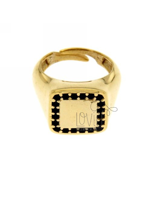 PINKY RING SQUARE GOLD PLATED 925 ‰ BLACKS AND ZIRCONIA